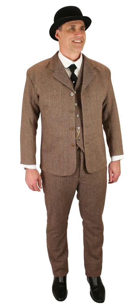 Victorian Mens Brown Tweed,Wool Blend Herringbone Notch Collar Dress Vest | Dickens | Downton Abbey | Edwardian || Walden Tweed Vest - Brown Herringbone
