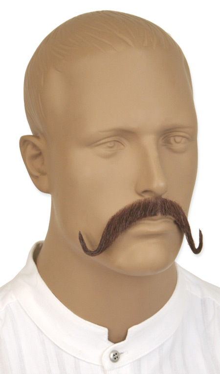 1800s Mens Brown Natural Mustache | 19th Century | Historical | Period Clothing | Theatrical || Swank Mustache - Brown