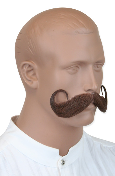 Vintage Mens Brown Natural Mustache | Romantic | Old Fashioned | Traditional | Classic || Handlebar Mustache - Brown