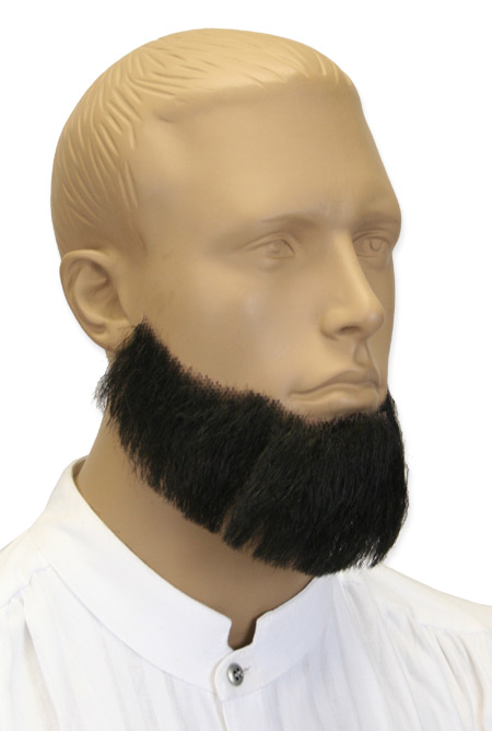 Victorian Mens Black Natural Beard | Dickens | Downton Abbey | Edwardian || Senatorial Beard - Black