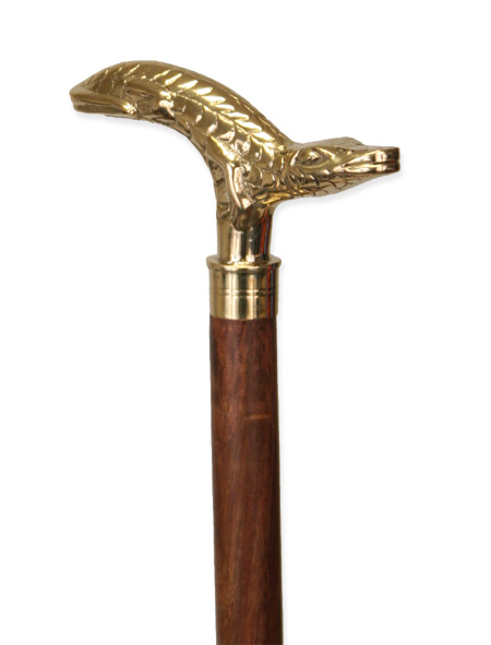 Victorian Mens Gold Brass,Wood Walking Stick | Dickens | Downton Abbey | Edwardian || Gator Walking Stick - Brass