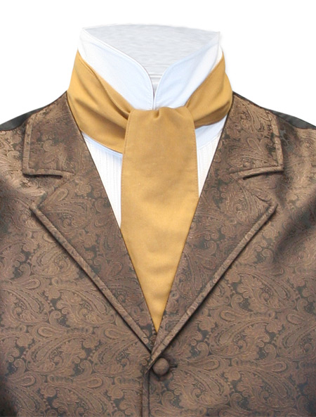 1800s Mens Brown,Tan Cotton Solid Cravat | 19th Century | Historical | Period Clothing | Theatrical || Classic Cotton Cravat - Tobacco