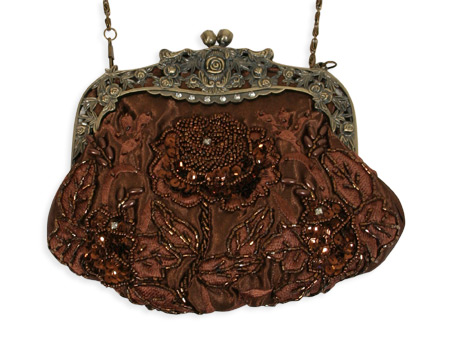 Vintage Ladies Brown Beaded Fabric,Metal Solid,Floral Pur | Romantic | Old Fashioned | Traditional | Classic || Beaded Rose Design Purse - Brown