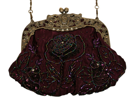 Victorian Ladies Purple Beaded Fabric,Metal Solid,Floral Pur | Dickens | Downton Abbey | Edwardian || Beaded Rose Design Purse - Purple