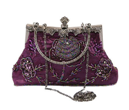 1800s Ladies Purple Beaded Fabric,Metal Solid,Floral Pur | 19th Century | Historical | Period Clothing | Theatrical || Oblong Rose Purse - Purple