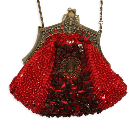 Vintage Ladies Red Beaded Fabric,Metal Solid,Medallion Pur | Romantic | Old Fashioned | Traditional | Classic || Beaded Medallion Purse - Red
