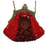Victorian,Old West, Ladies Accessories Red Beaded Fabric,Metal Solid,Medallion Purses |Antique, Vintage, Old Fashioned, Wedding, Theatrical, Reenacting Costume |