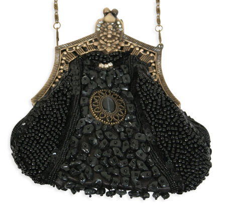 Vintage Ladies Black Beaded Fabric,Metal Solid,Medallion Pur | Romantic | Old Fashioned | Traditional | Classic || Beaded Medallion Purse - Black