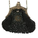 Victorian,Old West,Steampunk, Ladies Accessories Black Beaded Fabric,Metal Solid,Medallion Purses |Antique, Vintage, Old Fashioned, Wedding, Theatrical, Reenacting Costume | ,Gifts for Her