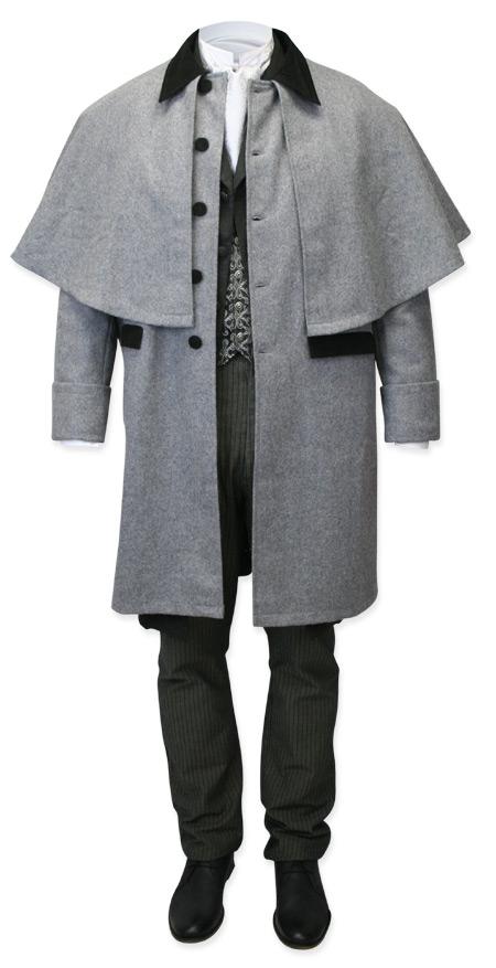 Wedding Mens Gray Wool,Velvet Solid Point Collar Cloak | Formal | Bridal | Prom | Tuxedo || Coburn Great Coat - Gray Wool