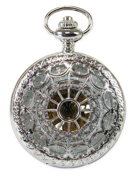 Wedding Mens Silver Alloy Mechanical Watch   Formal   Bridal   Prom   Tuxedo    Mechanical Pocket Watch - Silver Lacy Design