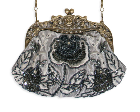 Vintage Ladies Gray Beaded Fabric,Metal Solid,Floral Pur | Romantic | Old Fashioned | Traditional | Classic || Beaded Rose Design Purse - Gray