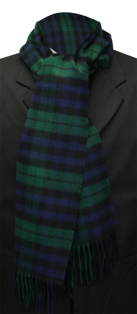 Victorian Mens Multicolor,Black Wool Plaid Scarf   Dickens   Downton Abbey   Edwardian    Cashmere Wool Scarf - Black Watch