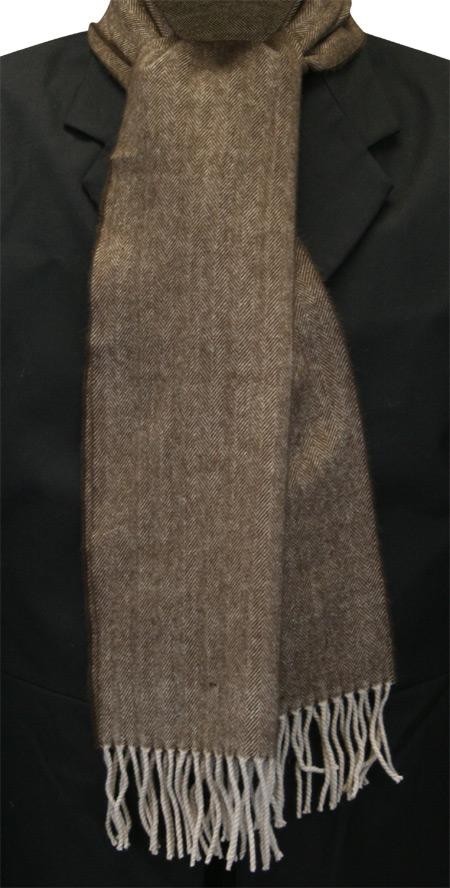 Steampunk Mens Brown Wool Solid,Herringbone Scarf | Gothic | Pirate | LARP | Cosplay | Retro | Vampire || Cashmere Wool Scarf - Brown Herring