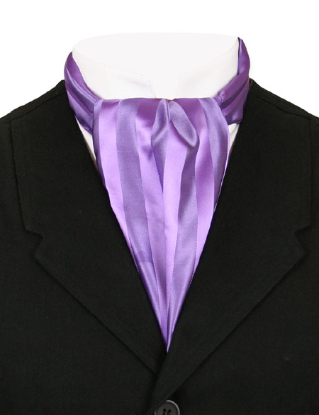 Vintage Mens Purple Stripe Ascot | Romantic | Old Fashioned | Traditional | Classic || Ascot - Purple Tonal Stripe