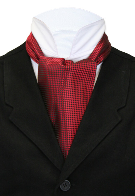 Victorian Mens Red Geometric Ascot | Dickens | Downton Abbey | Edwardian || Ascot - Harlequin - Red
