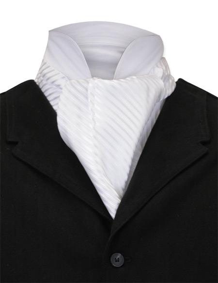 Vintage Mens White Stripe Ascot | Romantic | Old Fashioned | Traditional | Classic || Satin Ascot - White Tonal Pinstripe