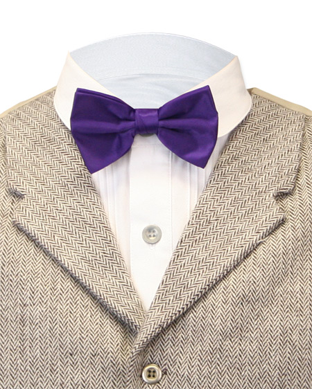1800s Mens Purple Solid Bow Tie | 19th Century | Historical | Period Clothing | Theatrical || Satin Bow Tie - Solid Purple