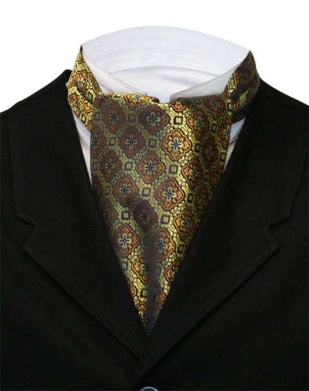 Victorian Mens Multicolor,Gold Geometric Ascot | Dickens | Downton Abbey | Edwardian || Medallion Ascot - Gold