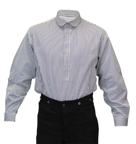 1800s Mens Gray,White,Black Cotton Stripe Banker/Club Collar Dress Shirt | 19th Century | Historical | Period Clothing | Theatrical || Coulter Shirt - Black and White Pinstripe