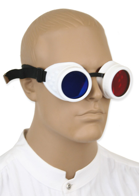 Vintage Mens White,Red,Blue Plastic Goggles | Romantic | Old Fashioned | Traditional | Classic || Mad Scientist Goggles with Anaglyphic Red/Blue 3-D lenses