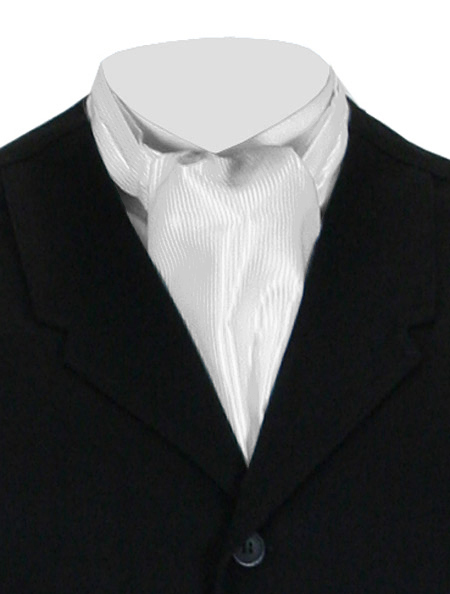 Steampunk Mens White Stripe Ascot | Gothic | Pirate | LARP | Cosplay | Retro | Vampire || Satin Tonal Pinstripe Ascot - White