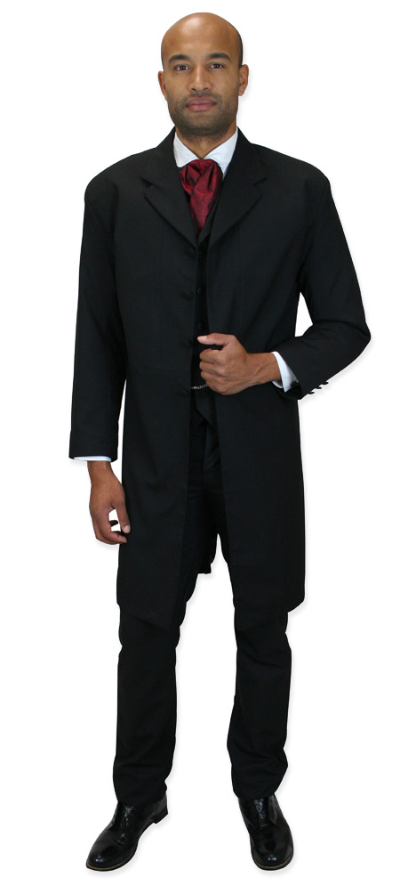Wedding Mens Black Solid Notch Collar Frock Coat | Formal | Bridal | Prom | Tuxedo || Callahan Frock Coat - Black
