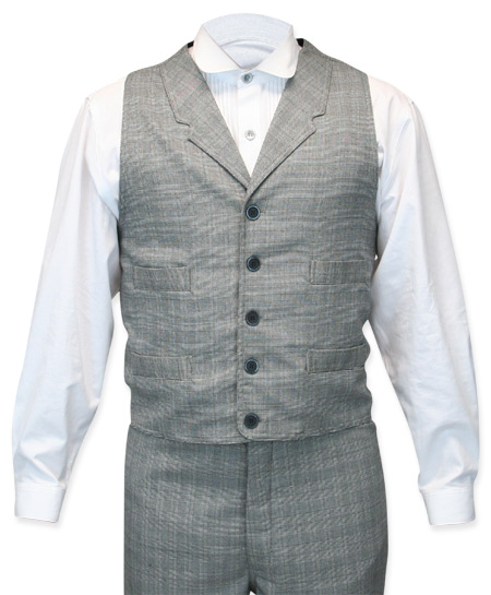 1800s Mens Gray,Black Plaid Notch Collar Dress Vest | 19th Century | Historical | Period Clothing | Theatrical || Higgins Vest - Black/White Plaid