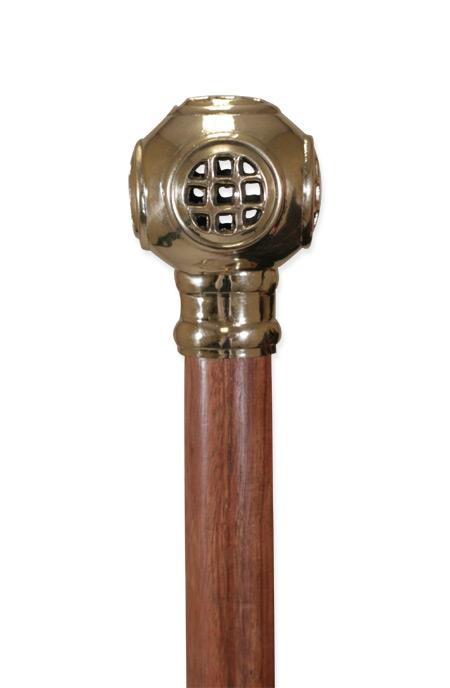 Victorian Mens Gold Brass,Wood Walking Stick | Dickens | Downton Abbey | Edwardian || BRASS Divers Helmet Walking Stick