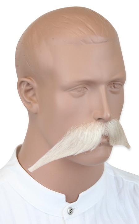 Victorian Mens White Natural Mustache | Dickens | Downton Abbey | Edwardian || Walrus Mustache - White