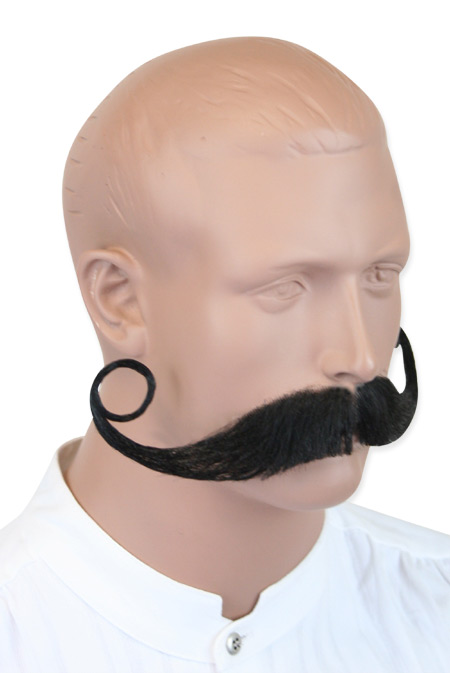 Steampunk Mens Black Natural Mustache | Gothic | Pirate | LARP | Cosplay | Retro | Vampire || Piper Mustache - Black