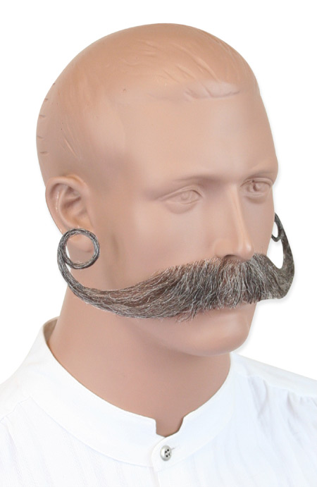 1800s Mens Gray Natural Mustache | 19th Century | Historical | Period Clothing | Theatrical || Piper Mustache - Gray