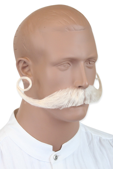 1800s Mens White Natural Mustache | 19th Century | Historical | Period Clothing | Theatrical || Piper Mustache - White