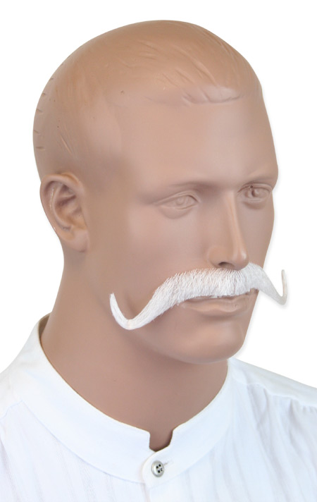 Victorian Mens White Natural Mustache | Dickens | Downton Abbey | Edwardian || Musketeer Mustache - White