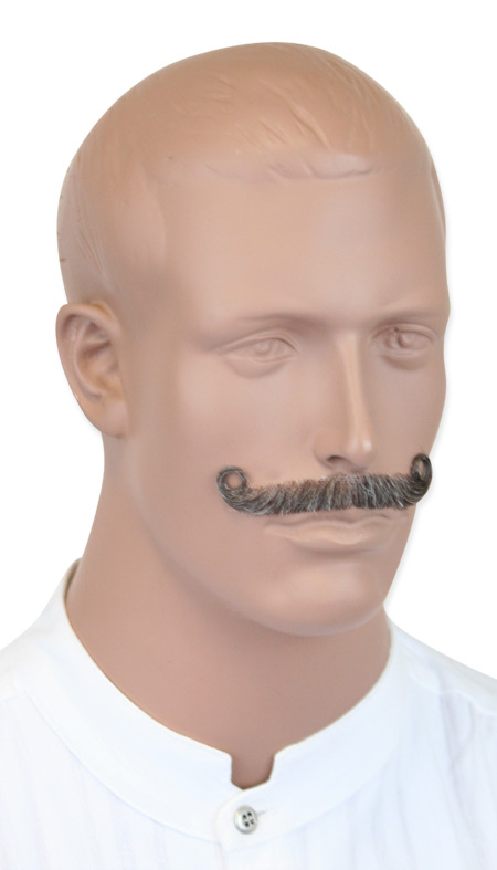 1800s Mens Gray Natural Mustache | 19th Century | Historical | Period Clothing | Theatrical || Ambassador Mustache - Gray
