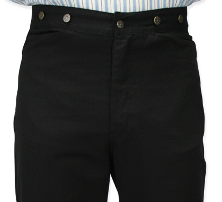 Victorian Mens Black Cotton Solid Work Pants   Dickens   Downton Abbey   Edwardian    Classic Canvas Trousers - Black