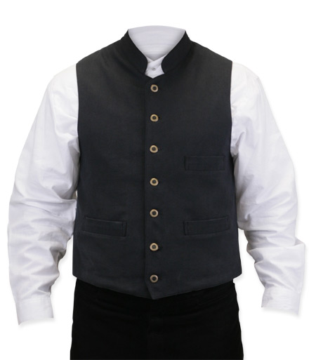 Wedding Mens Black Cotton Solid Stand Collar Work Vest | Formal | Bridal | Prom | Tuxedo || Commander Vest - Black