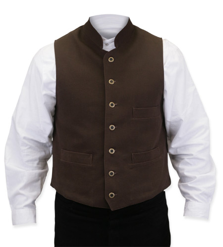 Wedding Mens Brown Cotton Solid Stand Collar Work Vest | Formal | Bridal | Prom | Tuxedo || Commander Vest - Walnut