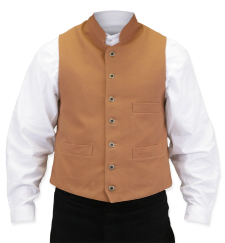 Victorian Mens Brown Cotton Solid Stand Collar Work Vest | Dickens | Downton Abbey | Edwardian || Commander Vest - Brown
