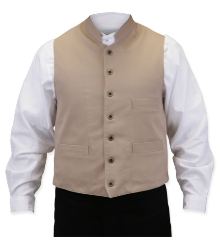 Victorian Mens Brown,Tan Cotton Solid Stand Collar Work Vest | Dickens | Downton Abbey | Edwardian || Commander Vest - Khaki