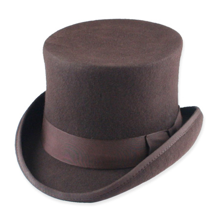 Vintage Mens Brown Wool Felt Top Hat | Romantic | Old Fashioned | Traditional | Classic || Deluxe John Bull Top Hat - Brown