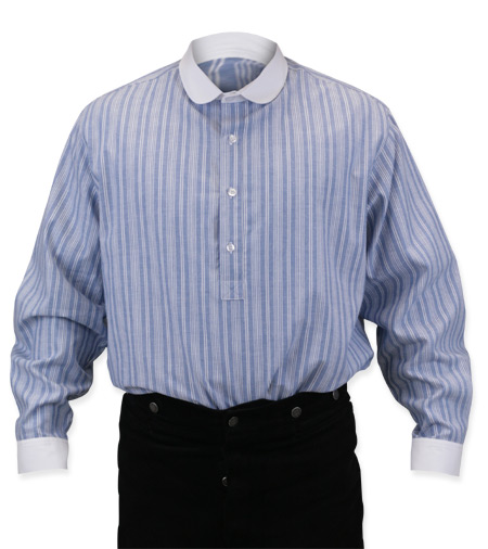 Vintage Mens Blue,White Cotton Stripe Banker/Club Collar Dress Shirt | Romantic | Old Fashioned | Traditional | Classic || Barrymore Shirt - Blue/White