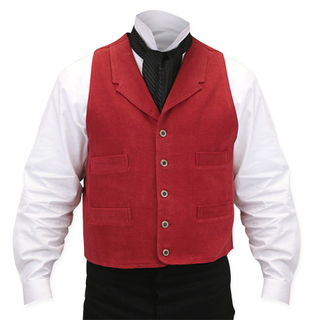 Vintage Mens Red Cotton Solid Notch Collar Dress Vest | Romantic | Old Fashioned | Traditional | Classic || Sand Mountain Brushed Cotton Vest - Red
