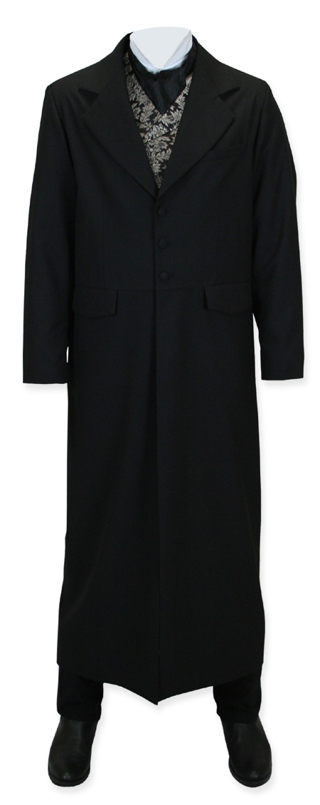 Vintage Mens Black Solid Notch Collar Duster | Romantic | Old Fashioned | Traditional | Classic || Classic Rifle Coat - Black