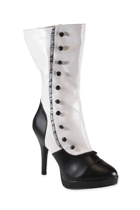 Vintage Ladies White,Black Faux Leather Boots   Romantic   Old Fashioned   Traditional   Classic    Tall Spat Boots - Black/White Faux Leather