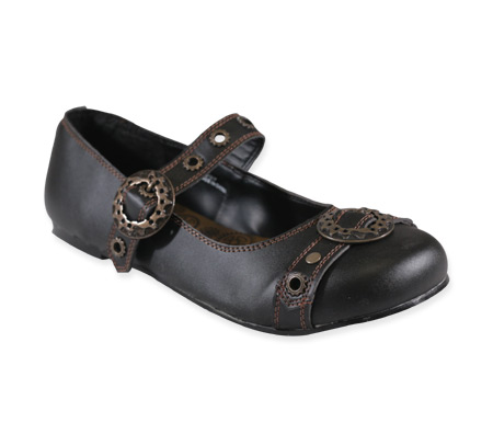 Victorian Ladies Black Faux Leather Shoes | Dickens | Downton Abbey | Edwardian || Brassy Steampunk Mary Janes - Black Faux Leather