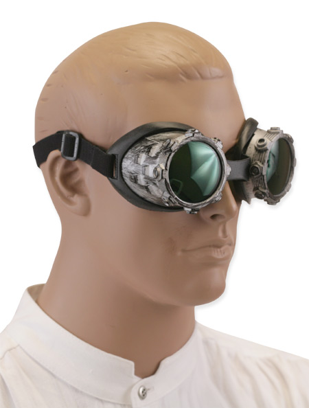 1800s Mens Silver Plastic Goggles | 19th Century | Historical | Period Clothing | Theatrical || Riveted Goggles - Silver Tone