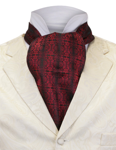 1800s Mens Red Geometric Ascot | 19th Century | Historical | Period Clothing | Theatrical || Cartesian Ascot - Red