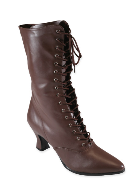 Vintage Ladies Brown Faux Leather Boots | Romantic | Old Fashioned | Traditional | Classic || Victorian Boot - Brown Faux Leather
