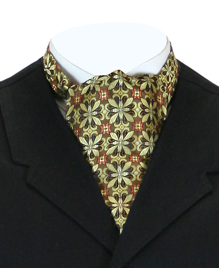 Vintage Mens Multicolor,Gold Silk Geometric Ascot | Romantic | Old Fashioned | Traditional | Classic || Silk Ascot - Gold Geometric Pattern